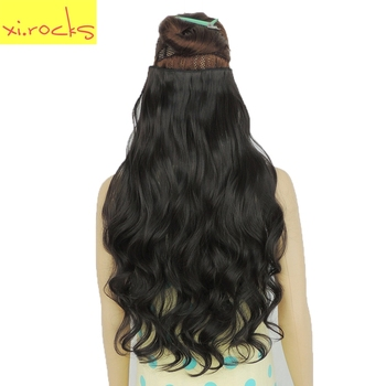 wjj12070/4A 2Piece Xi.Rocks 5 Clip in Hair Extension Synthetic Clips Extensions Curly Hairpin Hairpiece Black Brown wigs - discount item  40% OFF Synthetic Hair
