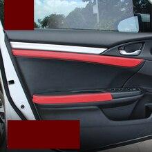 Car-styling leahter cubierta descansabrazos de la puerta del coche para honda civic 2016 2017 2015 10th cívica