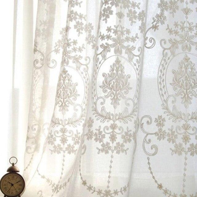 Baumwolle Und Leinen Europa Fenster Weiss Tll Transluzenten Gaze Angepasst Schlafzimmer Wohnzimmer Bestickt Transparent Gardinen