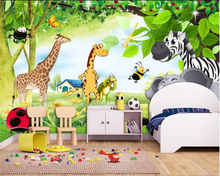 Купить с кэшбэком Beibehang Custom Photo Wallpaper Sticker 3d  Children's room animal giraffe elephant kid room mural TV Background 3D Wall paper