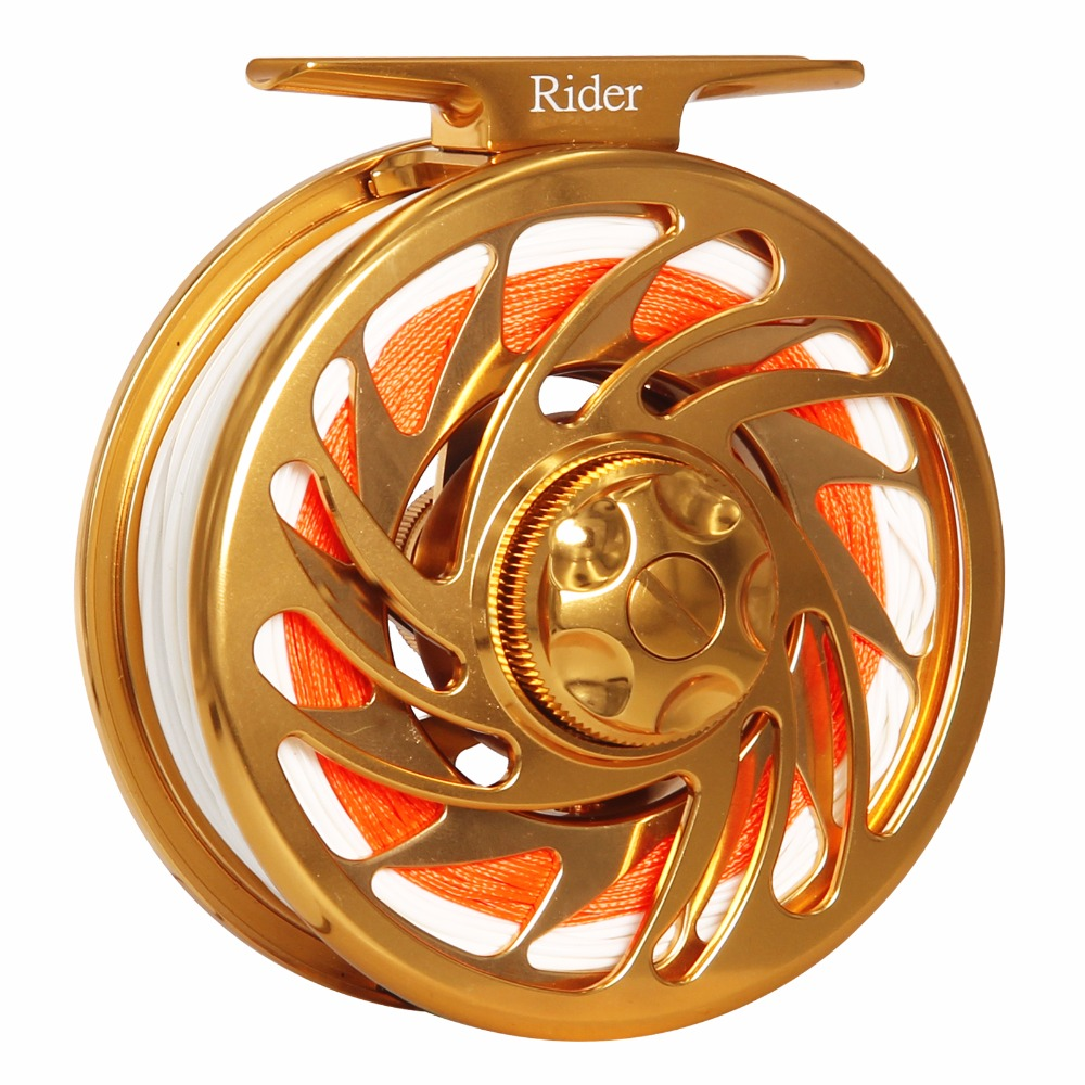 Super Strong Fly Reel Combo 3/4 5/6 7/8 9/10 WT CNC Machined T6061 Aluminum Large Arbor Gold Color Fishing Reel Combo Fly Fish piscifun fly fishing reel platte 3 4 5 6 7 8 9 10 wt cnc machine cut fishing reel large arbor aluminum fly reel302 327 365