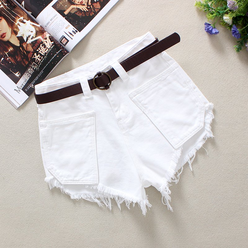 2020 White Women's Denim Shorts Summer Novel Loose Tassels 100% Cotton Big Pockets High Waist Solid Broad Foot Denim Shorts 2020