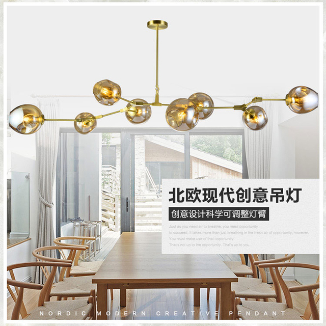 Modern Blown Glass Chandelier Lighting Bedroom Room Light LED Molecular  Chandelier For Dining Room AC 110V
