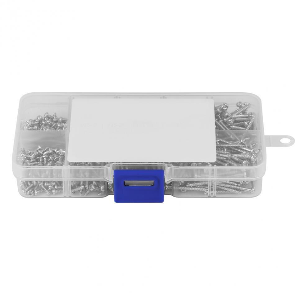 800pcs M2 Cross Drive Pan Head Self-Tapping Screws Woodworking Fastener Assortment Kit with Box
