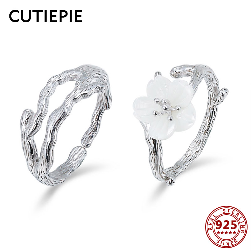 Cutiepie New 100% Actual 925 Sterling Silver Wooden Grain Snow Cherry Couple Rings For Lovers Open Finger Ring Marriage ceremony Jewellery Presents