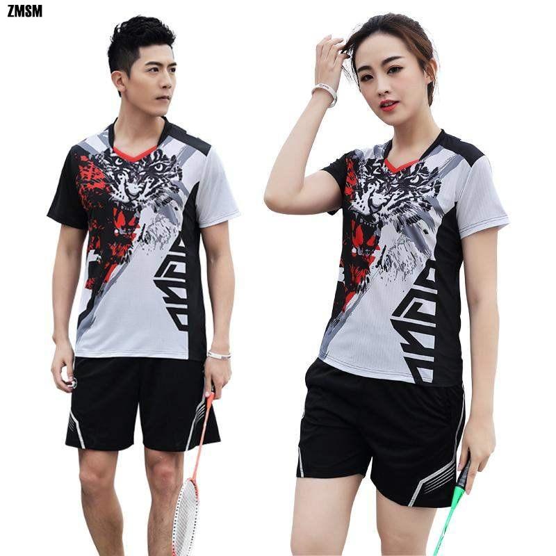 ZMSM Women/Men Personalized Print Tennis Shirts Badminton Set Jersey Uniform Quick Dry Table & Shorts Sports Clothes Y132