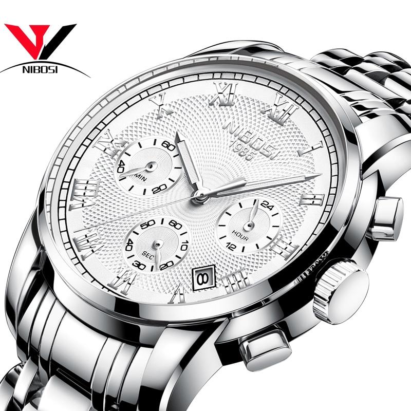 Relojes Para Hombre NIBOSI Silver Watches Men Top Brand Dress Business Wristwatch Waterproof Analog Quartz-Watch Puma Men Saat analog watch