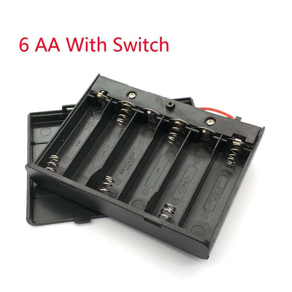 High Quality 6 AA Batteries Holder Storage Case Plastic 1.5V Battery Case ON/OFF Switch with Cap Wire For 6 X 1.5V AA Battery