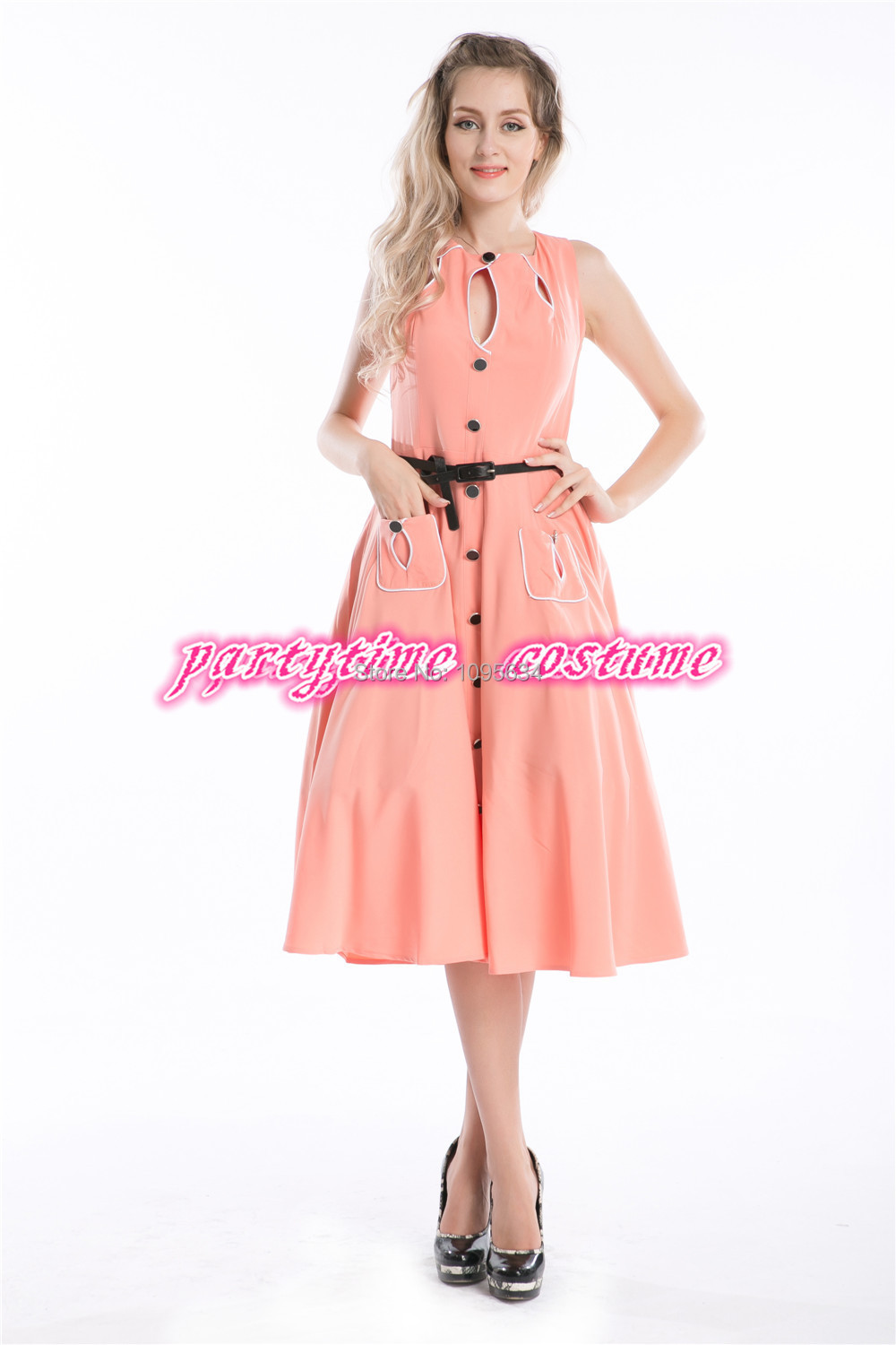 Free shipping ladies orange hallow out cotton 1950s 40s for Rockabilly outfit damen