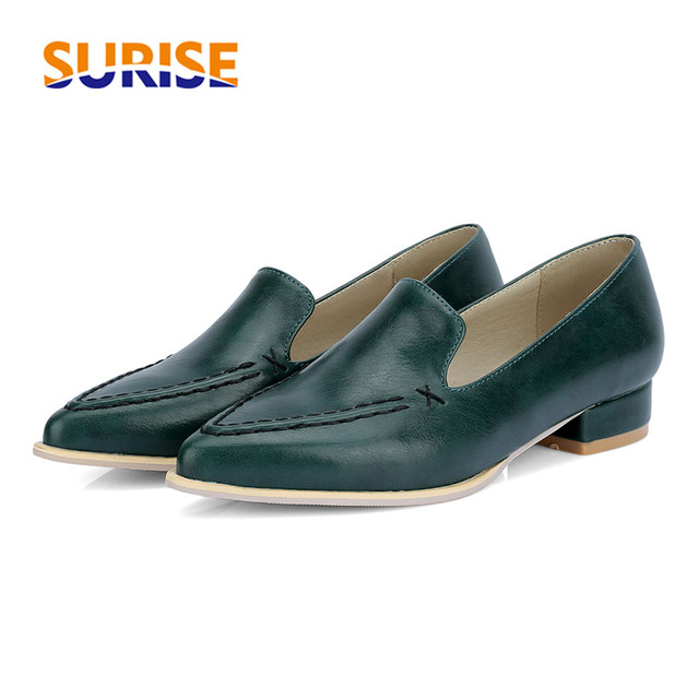 d7d1e76cf521c Big Size Women Flats Loafers Casual Low Block Heel PU Leather Sewing  Pointed Toe Summer Office