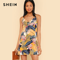 SHEIN New Cami Printed Dress Summer Beach Floral Tropical V Neck Straight Spaghetti Strap Animal Vacation
