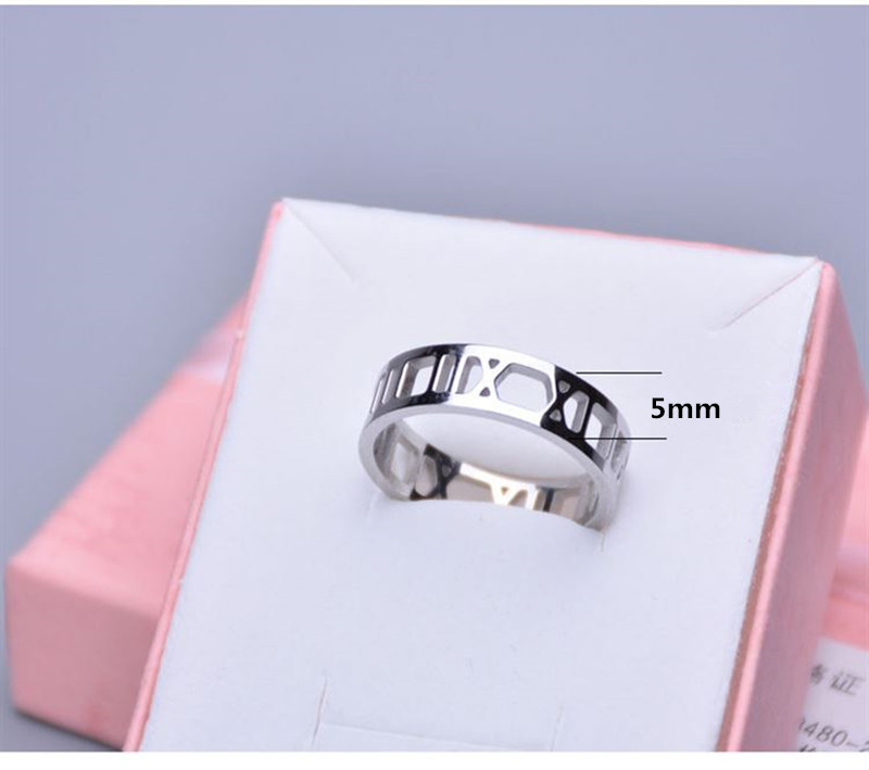 Buyee 925 Silver Couples Rings Women Men shiny Simple Roman Numerals Fashion Ring for Women Men Fashion Party Jewelry