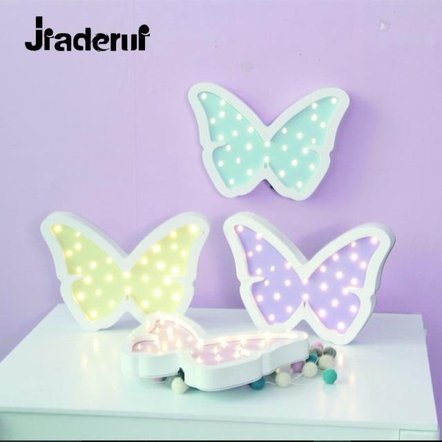 Jiaderui Butterfly Led Night Light Wooden Table Night Lamp for Children Gift Bedside Bedroom Living Room Decor Indoor Lighting
