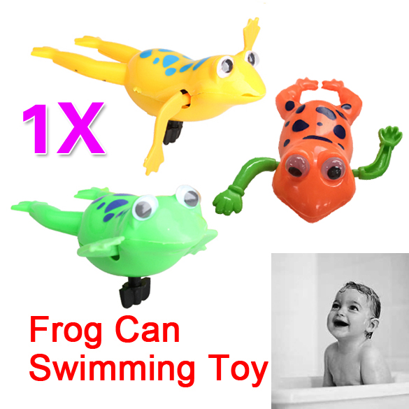 Swimming Frog Battery Operated Pool Bath Cute Toy Wind-Up Swim Frogs Kids Toy Random Color 1 Piece YH-17
