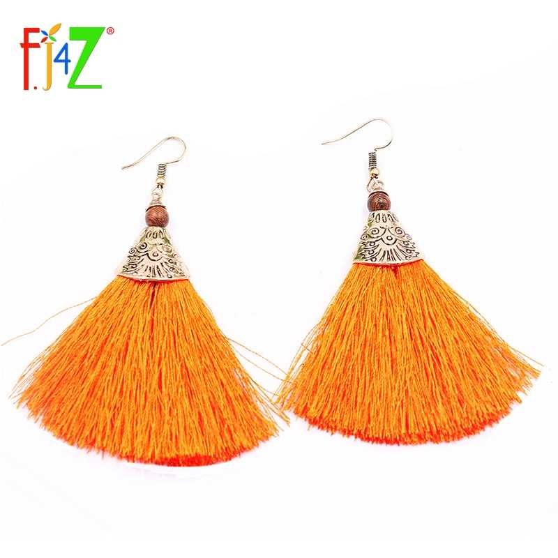 F.J4Z Dropshipping JewelryTrendy Tassel Earrings Vintage Bronze Flower Carved Alloy Bohemian Women Drop Earring for party Bijoux
