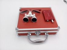 TDOU New 3.5x 420mm Surgical Binocular Loupes +Head Light Lamp +Aluminum Box(Ruby red) Free Shipping