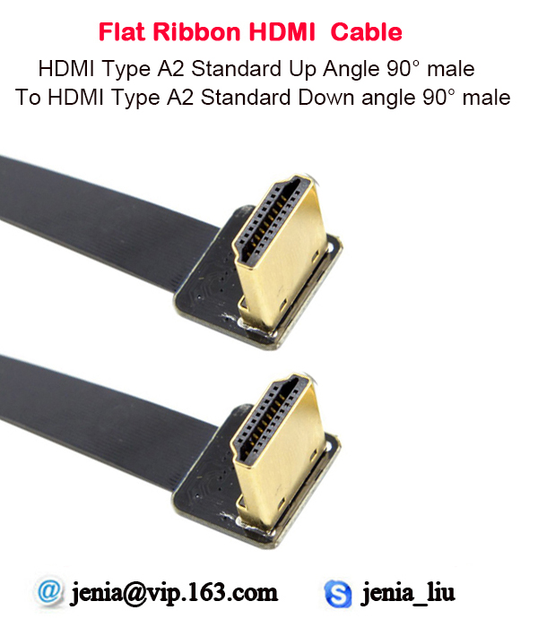 5CM/10CM/15CM/20CM/30CM Flat Ultra Thin HDMI Cable Standard Type A2 Up Angle Male To Male Type A2 Down Angle 90 Degree