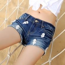 The new 2016 summer women's holes jeans female nail Korean loose large yards of denim shorts women's hot shorts 9901-16