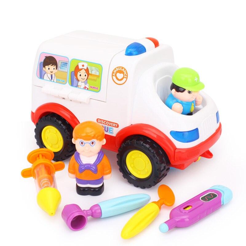 Huile Baby Educational Musical Ambulance Doctor Set Modell Simulering Vehicle Learning Elektroniska Brinquedos Leksaker För Barn