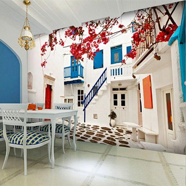Mediterranean white house photo mural wallpaper restaurant for Mural room white house