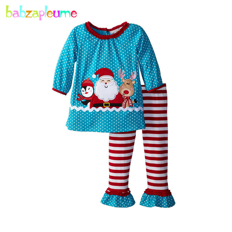 Santa Clauss Gift Kids Costume Girls Blouse+Pants 2pcs Baby Clothing Christmas Girls Outfits New Year Children Tracksuits A038