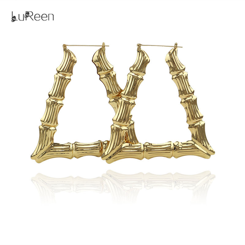 LuReen Hiphop Big Large Bamboo Hoop Earring For Women Rose Gold Triangle Drop Statement Earring Party Jewelry Gifts EH1004