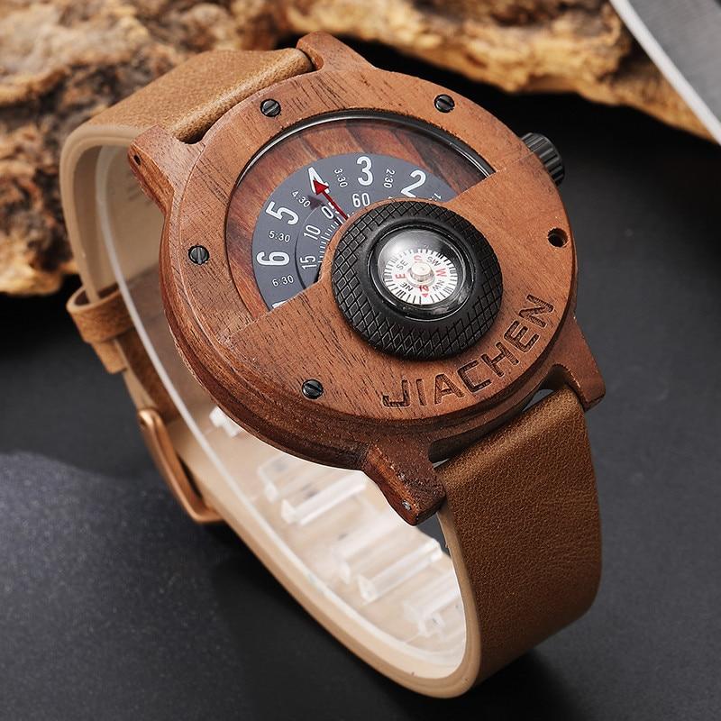 HTB1RHWzlljTBKNjSZFuq6z0HFXaa Creative Mens Walnut Wood Watch Male Wooden Leather Real Natural Rosewood Men Wrist Watch Men's Compass Turntable Wristwatch