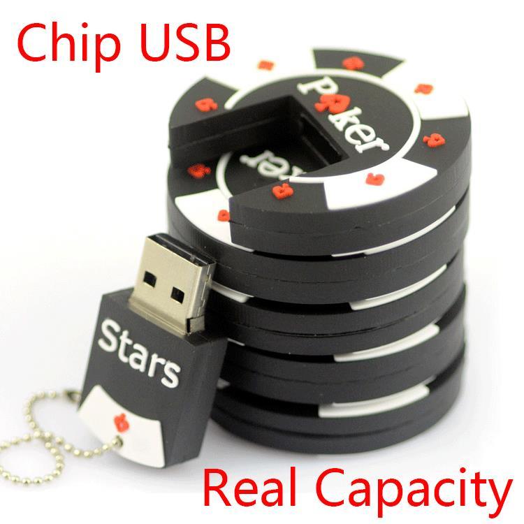 1 Year Warranty 2.0 8GB 16GB 32GB 64GB Rubber Poker Stars Pokerstars USB Flash Drive 2TB 1TB Pen Drive Cute Gift Pendrive 128GB