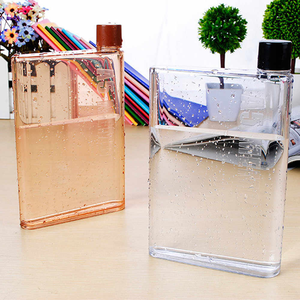 Creative Water Bottles Clear Book Portable Paper Pad water bottle Flat Drinks Kettle Home Travel Outdoor Hiking bottle