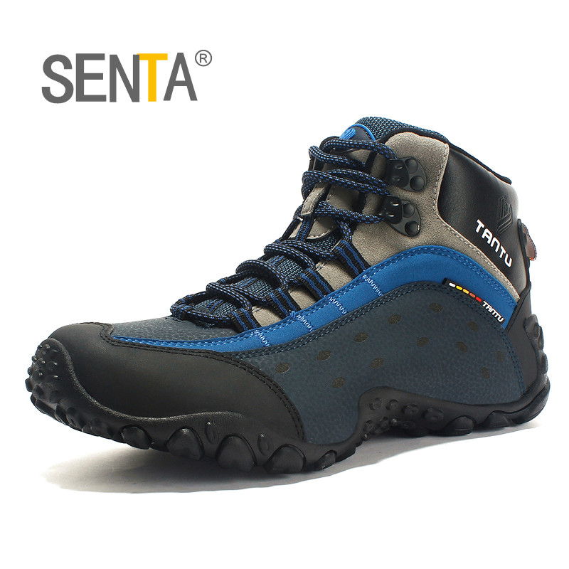 Men Waterproof Hiking Shoes Snow Boots Outdoor 100% Genuine Leather Trekking Shoes Rubber Wear-resistant Tourist Climbing Shoes