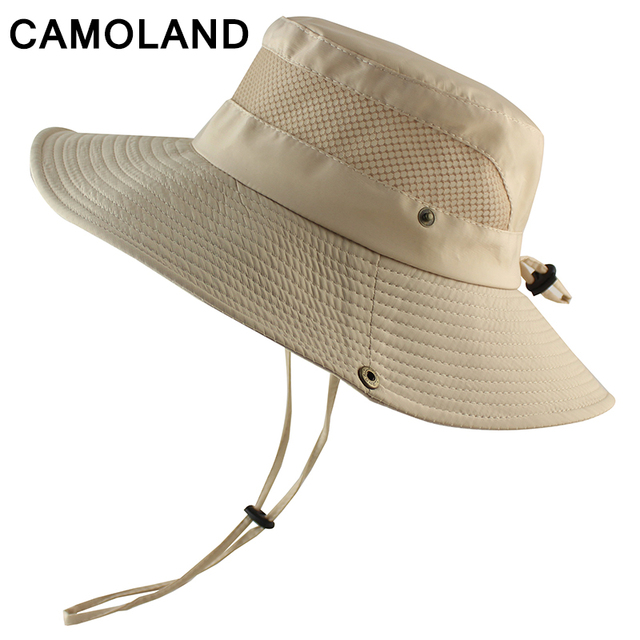 7cfa3773 Summer Bucket Hat Breathable Mesh Beach Hat Man Wide Brim Sun Hat Gorra  Mujer Men's Outdoors Foldable UV Protection Fishing Caps