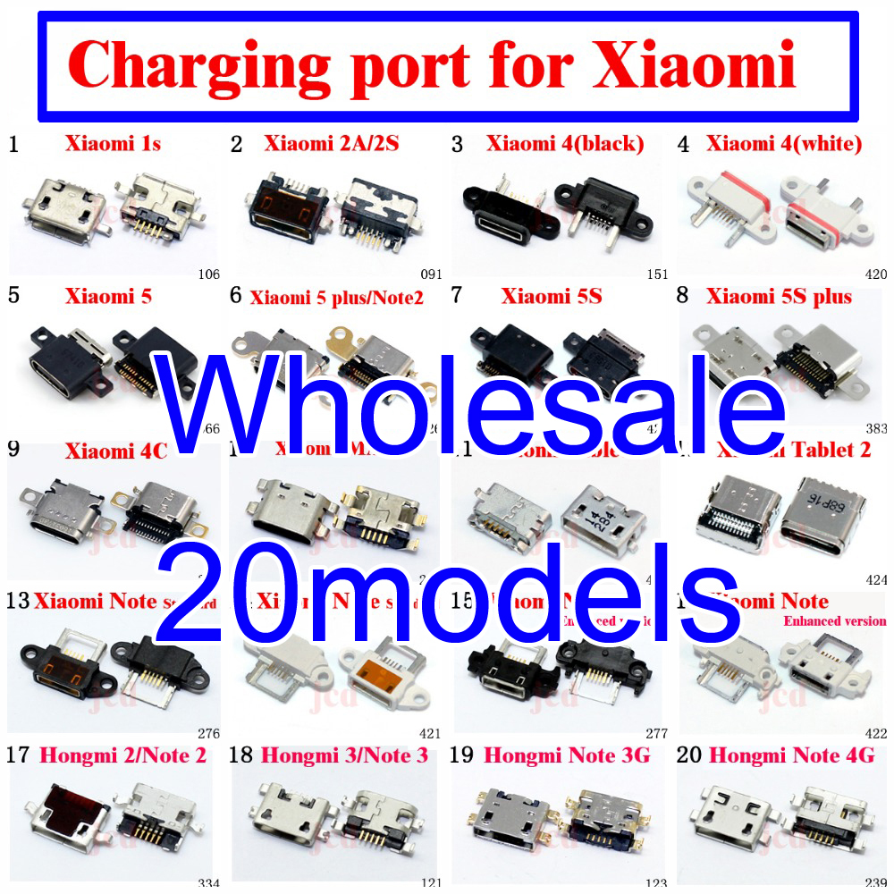 20 model Micro usb jack connector 5p Charging socket For Xiaomi 2 3 Mi3 4 Mi4 4S 5 5S MAX Note Redmi 1S 2 3 4 Note 3 Note 4X 2 4 10pcs lot micro usb connector jack