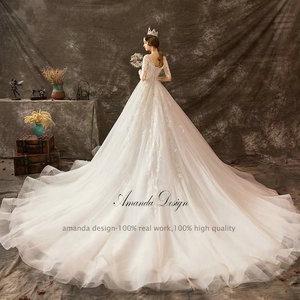 Image 2 - Amanda Design mariage Half Sleeve Lace Appliqued Beading Wedding Dress