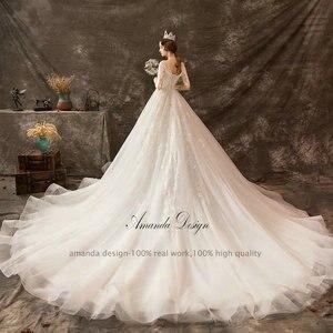 Image 2 - Amanda Thiết Kế mariage Nửa Tay Áo Ren Appliqued Beading Wedding Dress