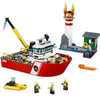 Fire Boat Compatible Legoe City Fire 60109 Building Blocks Bricks Model toys for Childrens kid gift 461Pcs