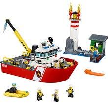 Fogo barco cidade fogo 60109 blocos de construção tijolos modelo brinquedos para crianças criança presente 461 pçs
