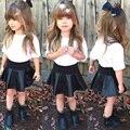 2016 nueva moda bebé niño pequeño niños chicas dress set profesional de manga larga casual tops + dress kids otoño invierno ropa conjunto