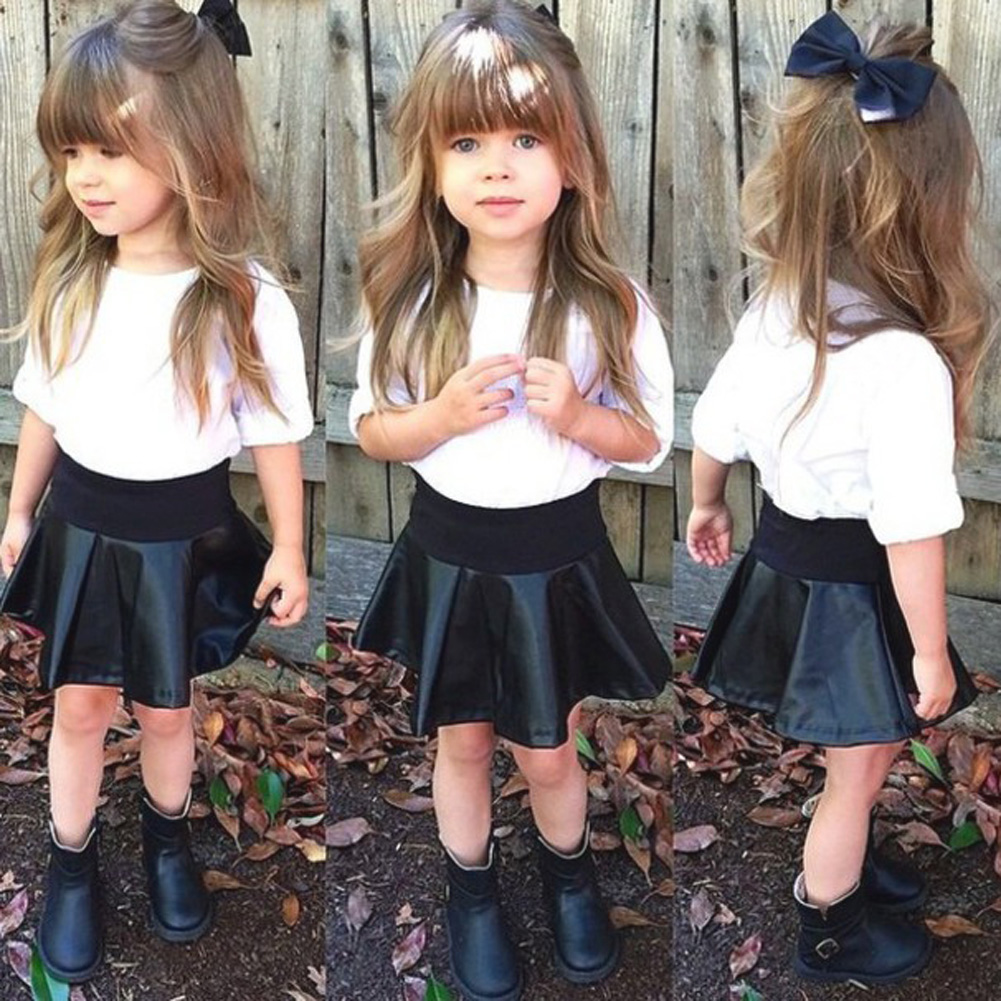 2017 Newest Fashion Baby Toddler Children Girls Clothes Set Long Sleeve Casual Tops+Skirt 2pcs Girls Summer Clothes Set For 2-7Y 2pcs set baby clothes set boy