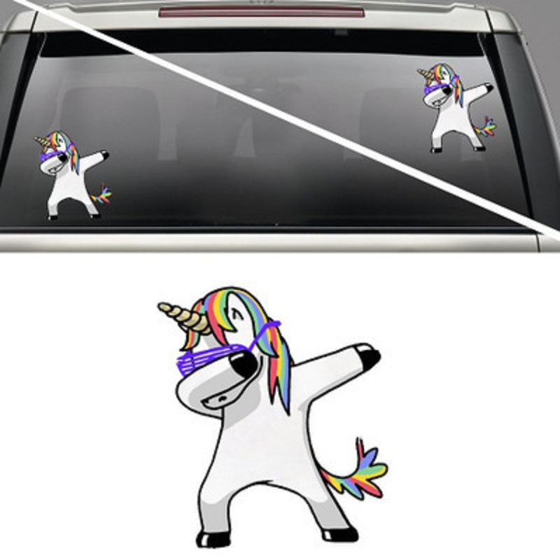 все цены на Lovely Unicorn Car Sticker Styling Cartoon Decals Vinyl Waterproof Funny Waterproof Vinyl Decals Car Styling car accessories