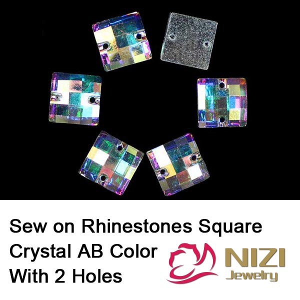 Sewing Rhinestones For Clothes Flatback Square Crystal AB Color Strass For Wedding Decoration New Sew On Crystal Rhinestones resin rhinestones flatback stone shape crystal ab color sew on rhinestone for wedding dress fashion crystal strass for clothes