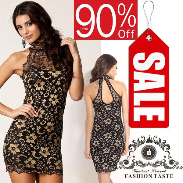 Summer gold black lace dress Estampado Women Short Sexy Party dress renda  Halter Neck Sleeveless Mini Party flower girl dresses 924004b48