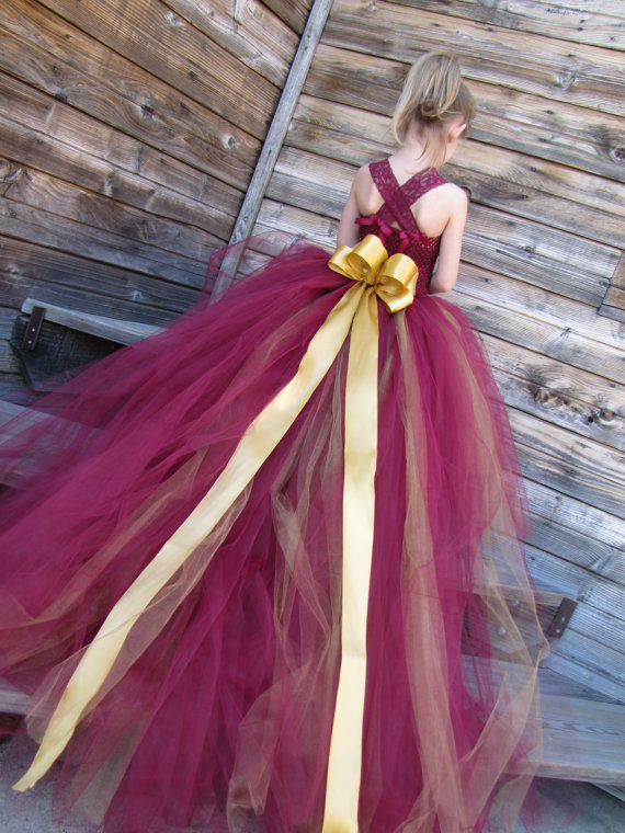 Princess Burgundy Gold   Flower     Girl     Dresses   Lace Strap   Girl   Tutu Dresss with Long Train Tulle Toddler Wedding Birthday   Dress