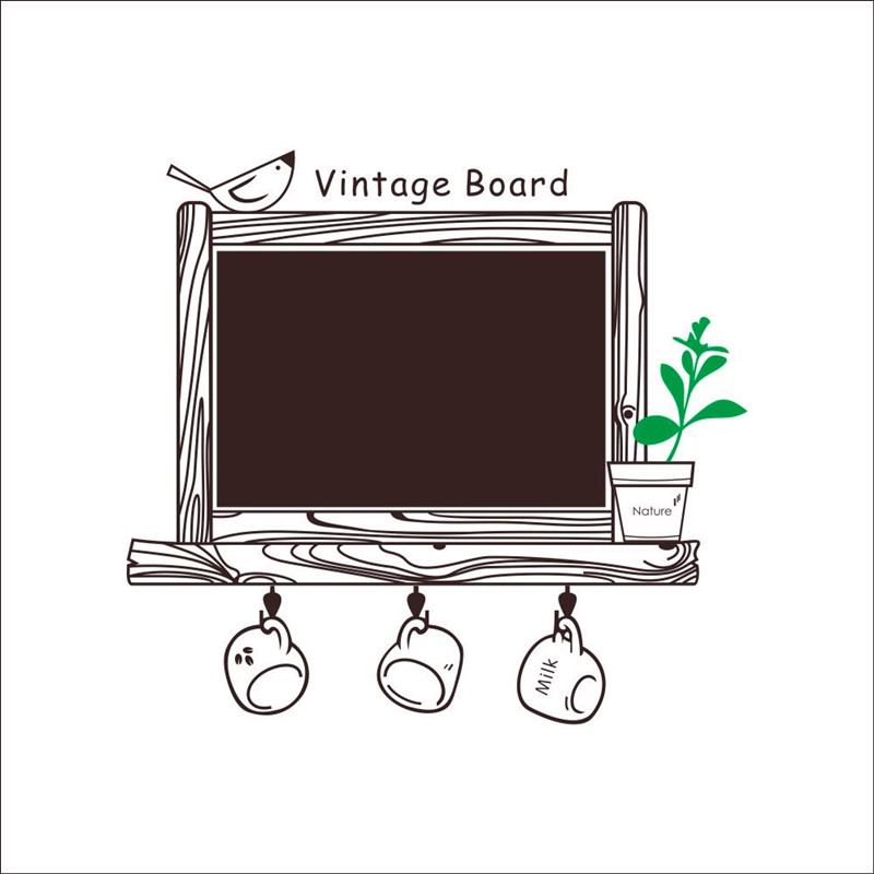 Removable ChalkBoard Wall Sticker - Kitchen Chalk Board Decal Art Decor - Cute Birds Wall Stickers - Kids Wtitting Wallpaper