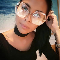 Women Sun Glasses Irregular Transparent Gradient Brand Designer Sunglass Lady Big Clear 2017 Mirror Female Oversize