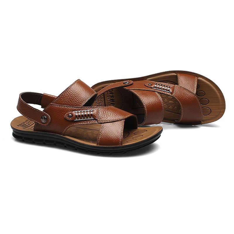 Top quality sandały 2018 mężczyźni sandały klapki na lato sandały z prawdziwej skóry półbuty męskie męskie skórzane sandały dla mężczyzn 05