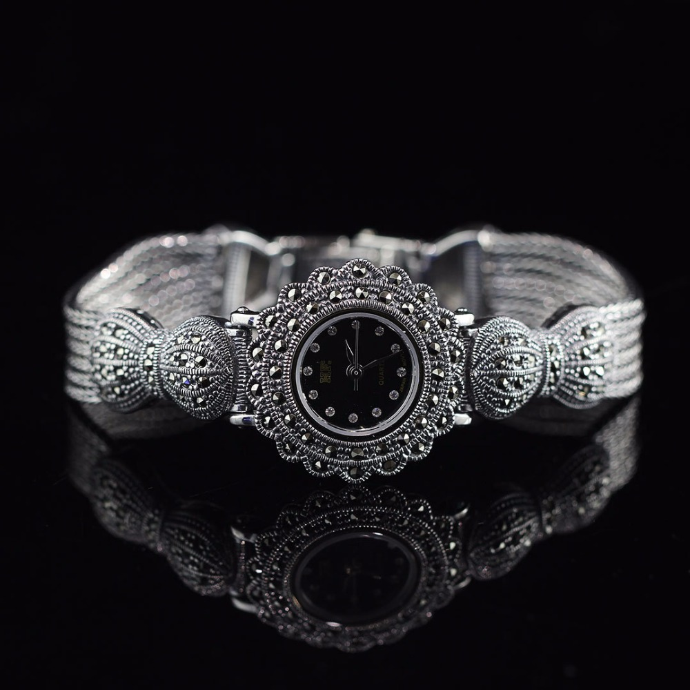 Limited Classic Elegant S925 Silver Pure Thai Silver Flower Bracelet Watches Thailand Process Rhinestone Bangle Dresswatch|watch stamp|watch waterproof|watches sold - title=