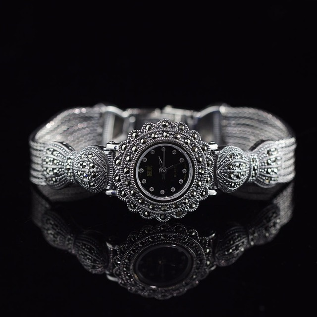 Limited Classic Elegant S925 Silver Pure Thai Silver Flower Bracelet Watches Thailand Process Rhinestone Bangle Dresswatch