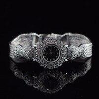 Limited Classic Elegant S925 Silver Pure Thai Silver Flower Bracelet Watches Thailand Process Rhinestone Bangle Dresswatch