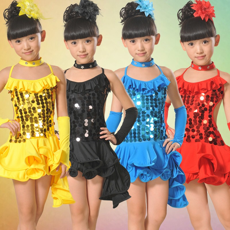 Sequined Dance Girls Kids Children Performance Stage Dancewear Costumes Ballroom Latin Salsa Dance Tutu Dress S1796 3colors 100 160cm height kids child girls tassel dress ballroom latin salsa fashion dancewear dance costume dresses gifts