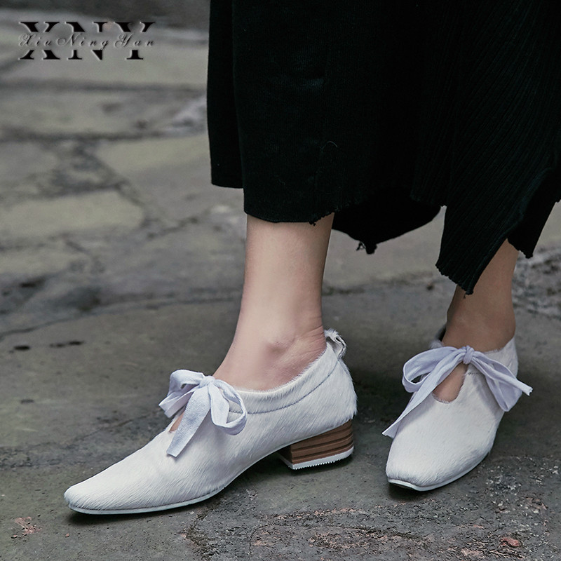 XIUNINGYAN Plus Size Women's Horsehair Lace up Flats Oxfords Brand Designer Square Dress Female Comfortable Footwear Shoes Woman - 5
